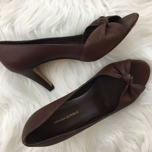BR Brown Leather Peep Toe Heels Pumps